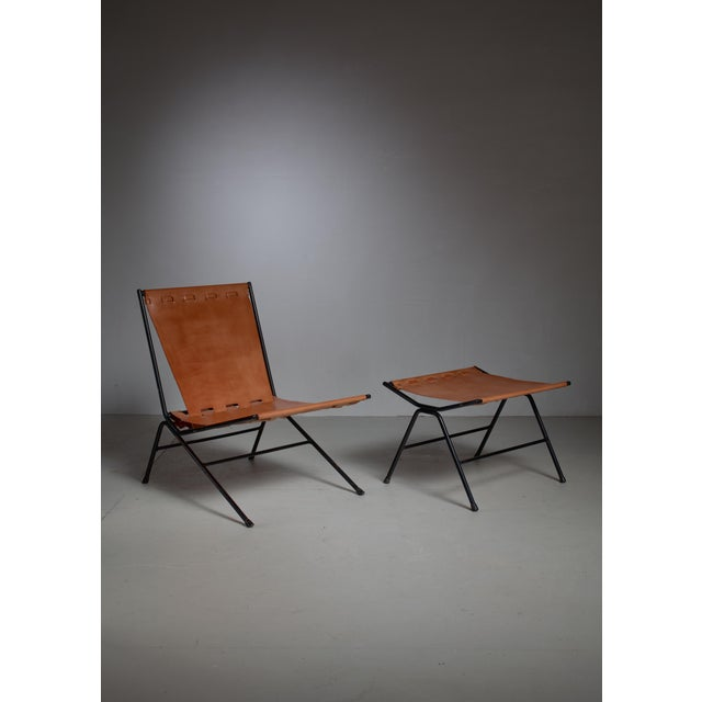 Mid-Century Modern Allan Gould lounge chair with ottoman, USA, 1950s For Sale - Image 3 of 4