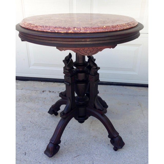 Red Antique East Lake Marble Top Table For Sale - Image 8 of 8