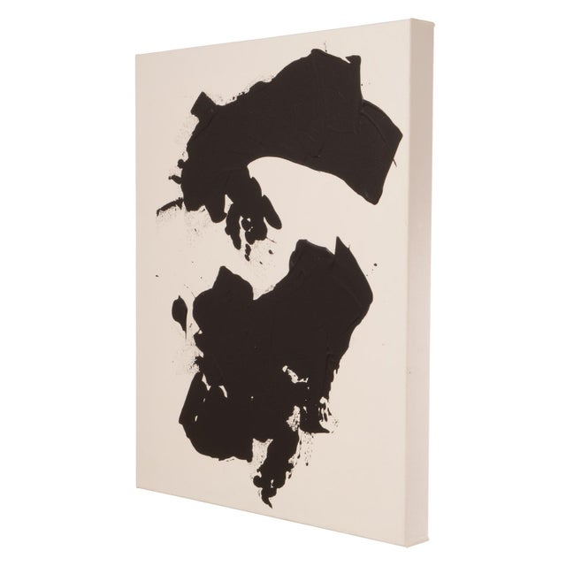 Abstract Original Black and White Abstract Painting on Gallery Wrapped Canvas For Sale - Image 3 of 7