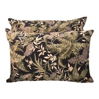 Contemporary Waverly Chartreuse and Black Print Lumbar Pillows - a Pair For Sale