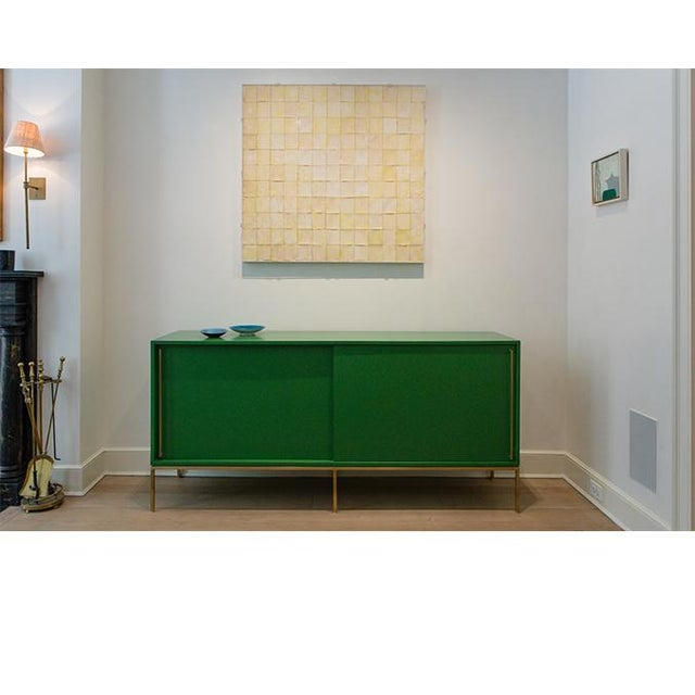 reGeneration Customizable Re: 379 Grass Green Lacquered Credenza on Brass base For Sale - Image 4 of 12