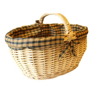 1960s Vintage Shopping Wicker Basket For Sale