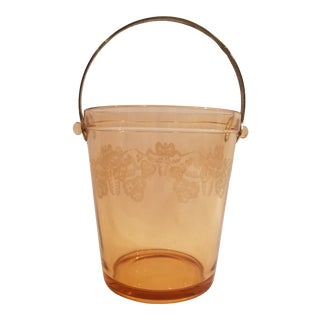 Amber Depression Glass Bow Design Ice Bucket with Silver Plate Handle For Sale