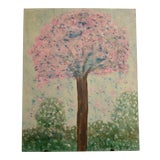 Image of Abstract Folk Art Shabby Chic/Boho Pink Tree Original Painting For Sale