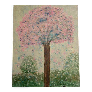 Abstract Folk Art Shabby Chic/Boho Pink Tree Original Painting For Sale