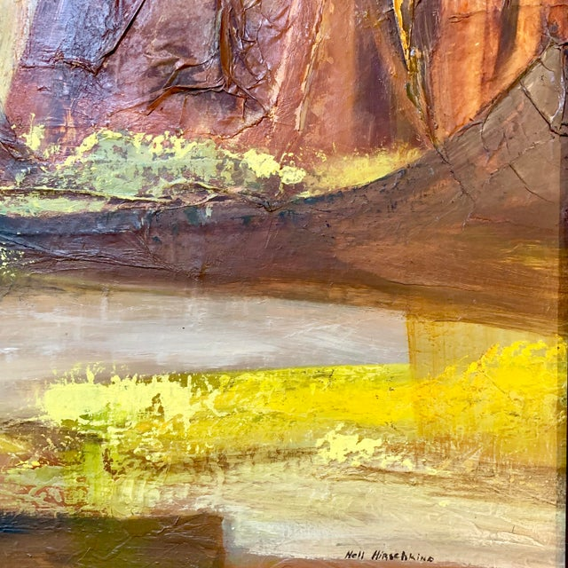 Canvas Vintage Mid-Century Nell Hirschkind Landscape Painting For Sale - Image 7 of 12