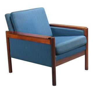 1960's Danish Blue Textile Rosewood Armchair For Sale