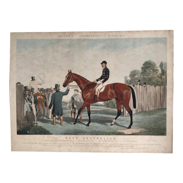 English Horse Racing Print, C1853 For Sale