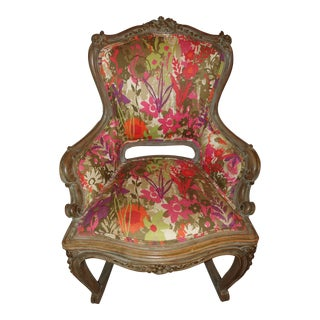 French Provincial Hollywood Regency Cane Floral Rocking Chair For Sale
