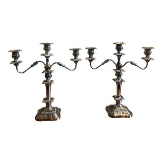 Vintage Detailed Grand Silver Plated Candelabras - a Pair For Sale