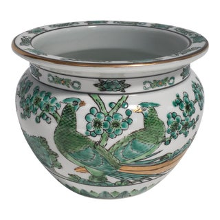 Green Imari Bird of Paradise Cachepot