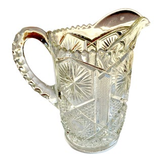 Modern Farmhouse Glass Pitcher, Vintage For Sale