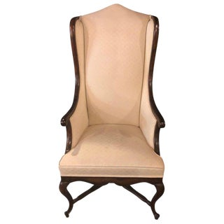 Queen Anne Style Off White Upholstered Wing Back Chair For Sale