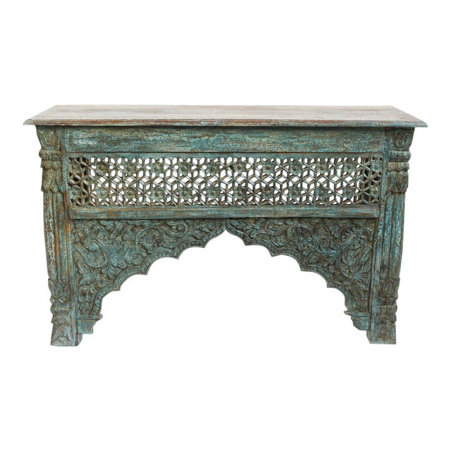 Architectural Carved Console Table - Image 1 of 6
