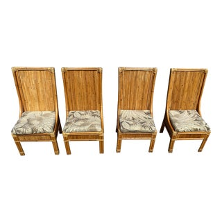 Bamboo,Split Reed Rattan High Back Chairs Set of 4 For Sale