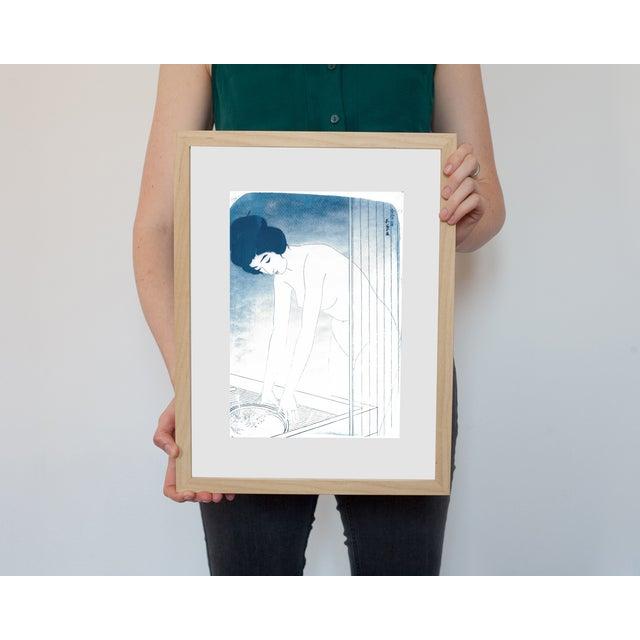 Cyanotype Print - Japanese Ukiyo-E Woman Bathing - Image 2 of 4