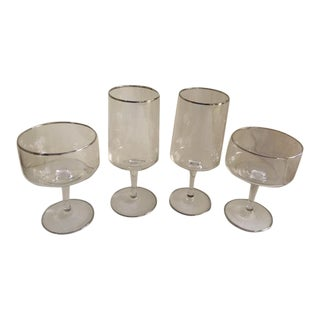 Vintage Lenox Rapture Platinum Rimmed Crystal Glasses - Set of 4 For Sale