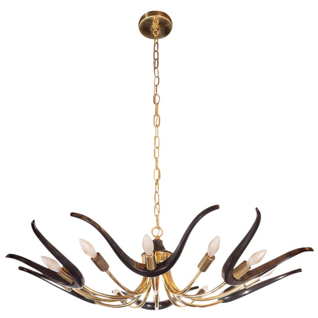 Mid-Century Modern Organic Ebonized Walnut and Brass Chandelier For Sale