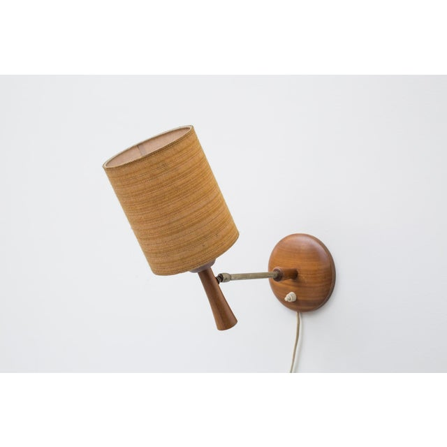 Mid-Century Teak and Brass Wall Lamp - Image 7 of 11