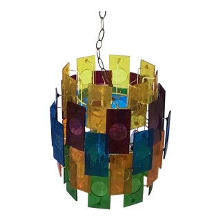 Mid Century 5 Tier Lucite Panel Light Swag Multicolor Hanging Lamp Chandelier 1960's For Sale