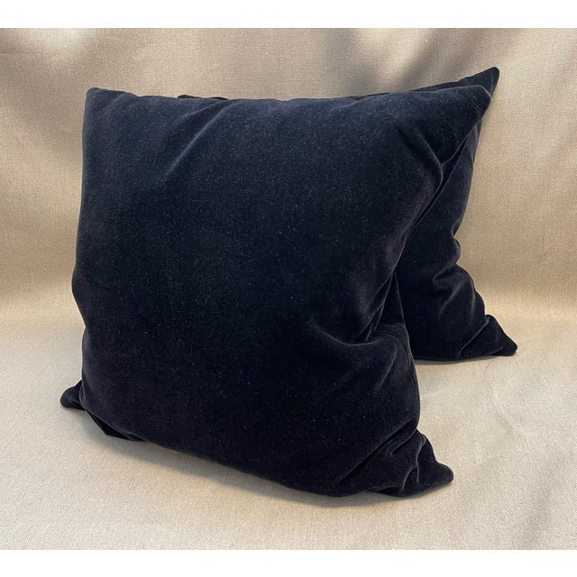 """Pair of Old World Weavers black mohair throw pillow 24"""" x 24"""" with down and feather insert, no zipper."""