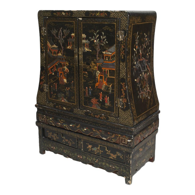 Asian Chinese Style Black Lacquered and Chinoiserie Decorated 2 Door Cabinet For Sale