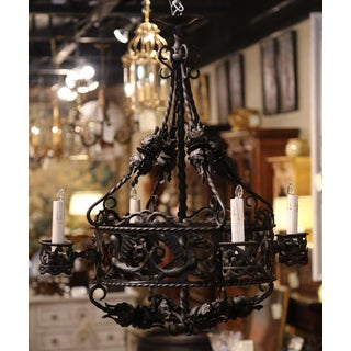19th Century French Gothic Black Wrought Iron Four-Light Chandelier Preview