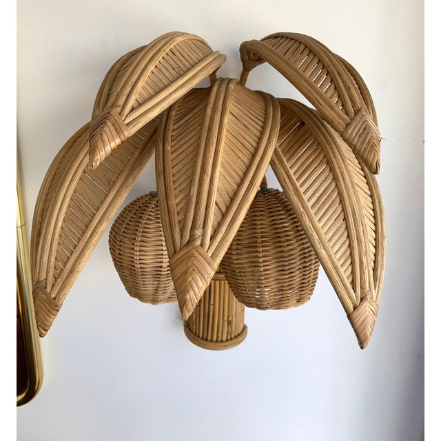 Pair of rattan coconut palm tree wall lights lamps sconces. In the style of Mario Lopez Torres, Galerie Maison & Jardin,...