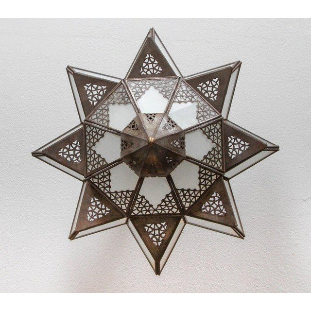 Moroccan Moorish Star Shape Frosted Glass Light Shade For Sale - Image 9 of 10