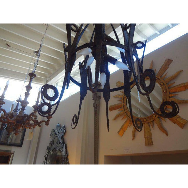1920s 1920's Antique French Wrought Iron Lantern For Sale - Image 5 of 10