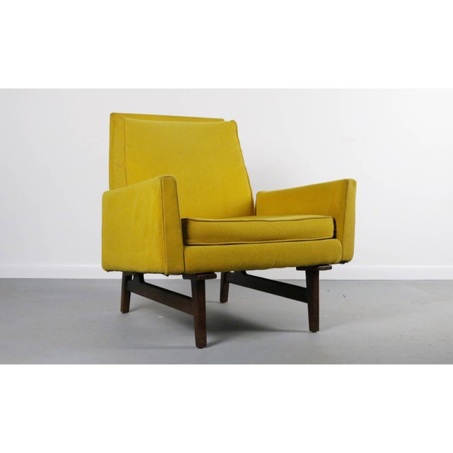 Jens Risom Rare Jens Risom 2118 Yellow on a Walnut Frame Lounge Chair For Sale - Image 4 of 4