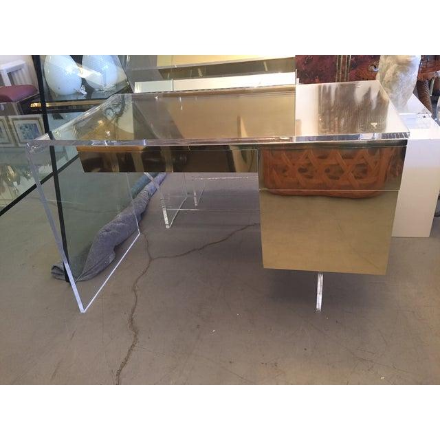 Vintage 1970s Lucite & Brass Desk - Image 7 of 10