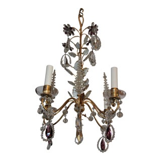 Mid Century Authentic Maison Bagues 4 Light Amethyst Floral & Crystal Chandelier For Sale