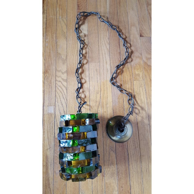 Mid-Century Glass Block Chandelier Light For Sale In Baltimore - Image 6 of 6