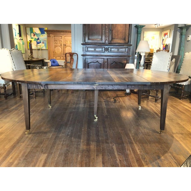 French 19th Century Louis XVI Style French Provincial Extending Walnut Dining Table For Sale - Image 3 of 9