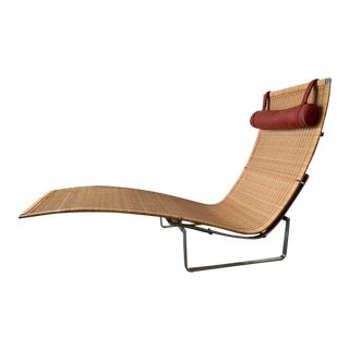 Poul Kjærholm Pk 24 Chaise Lounge With Wicker Seat for Fritz Hansen For Sale