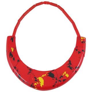 Sculptural French Designer Guillemette l'Hoir Paris Red Galalith Choker Necklace For Sale