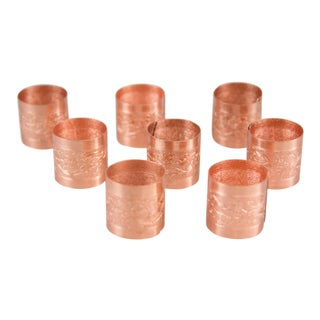 Vintage Copper Embossed Napkin Rings - Set of 8 For Sale