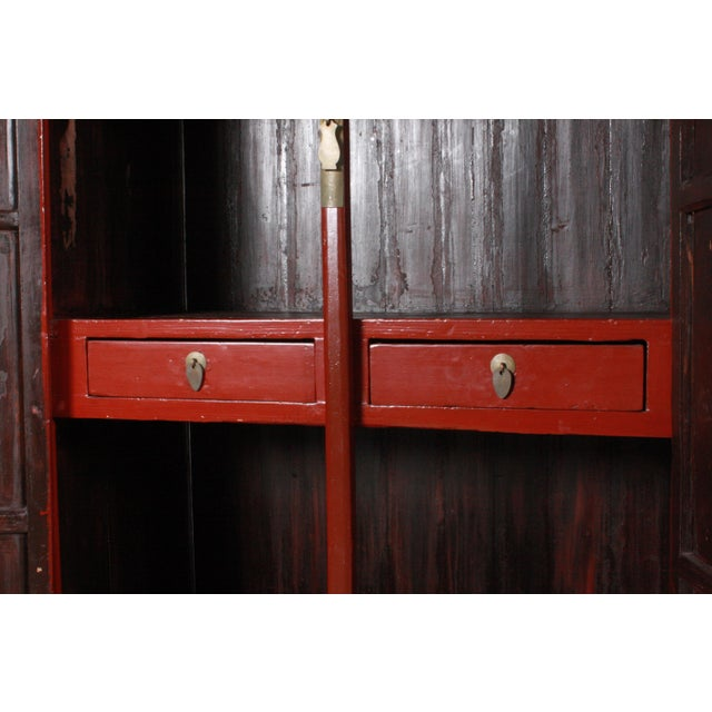 Red Ming-Style Wedding Cabinet For Sale - Image 8 of 11