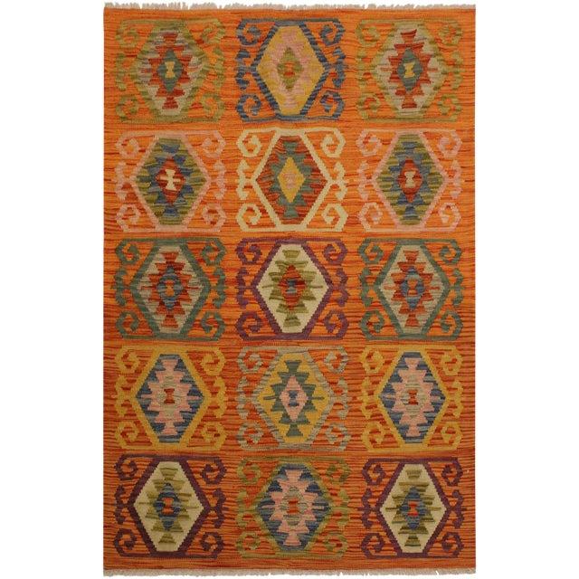 Edie Rust/Ivory Hand-Woven Kilim Wool Rug -4'2 X 5'9 For Sale