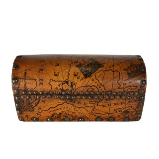 Vintage Handmade Wood Leather Treasure Map Chest Style Box For Sale