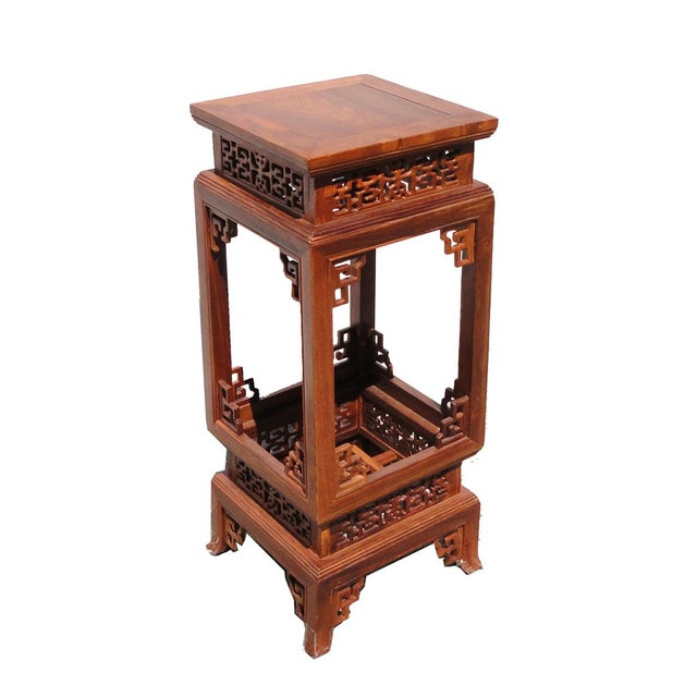 Chinese Yellow Rosewood Square Carving Plant Stand Pedestal Table For Sale - Image 5 of 5