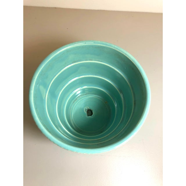 """American McCoy Pottery 1940s - 1960s Medium"""" Teal Blue"""" Mid-Century Flowerpot and Saucer For Sale - Image 3 of 6"""
