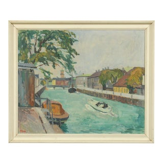 1950s Boats in a Canal Oil Painting by Per Sonne For Sale