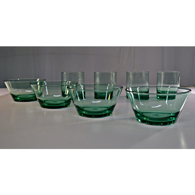 Plastic Retro Style Acrylic Green Glassware Set For Sale - Image 7 of 7
