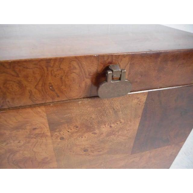 Lane Furniture Mid-Century Modern Burl Storage Box with Chrome Base For Sale - Image 9 of 11