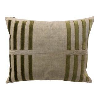 """Contemporary Emdee """"Velluto Porto"""" Green Velvet & Linen Pillow For Sale"""