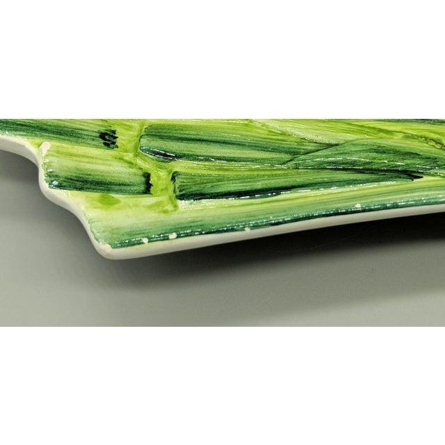 Italian Majolica Ceramiche Leonardo Leek Vegetable Tray For Sale - Image 9 of 10