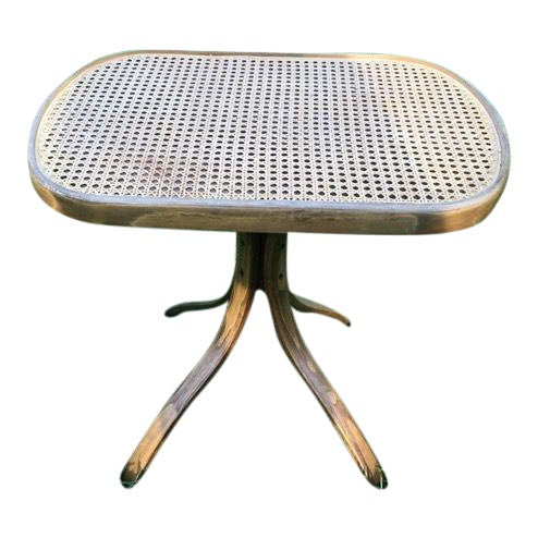 1970s Thonet Style Vintage Bentwood Rattan Side Table For Sale