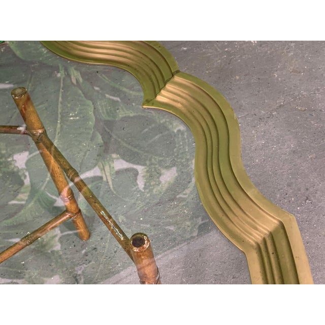Metal Faux Bamboo Coffee Table With Brass and Glass Top For Sale - Image 7 of 8